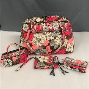 Vera Bradley Mocha Rouge Purse Wallet Wristlet +
